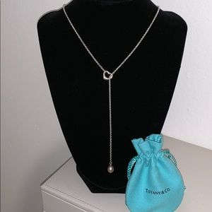 Tiffany & Co Sterling Silver Heart Pearl Lariat